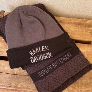 Harley Davidson scarf and knit hat